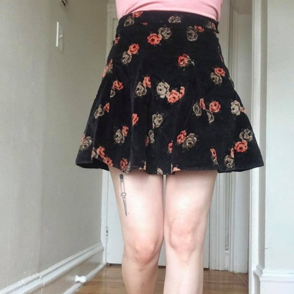 Free People Floral Cord Skirt Size 0
